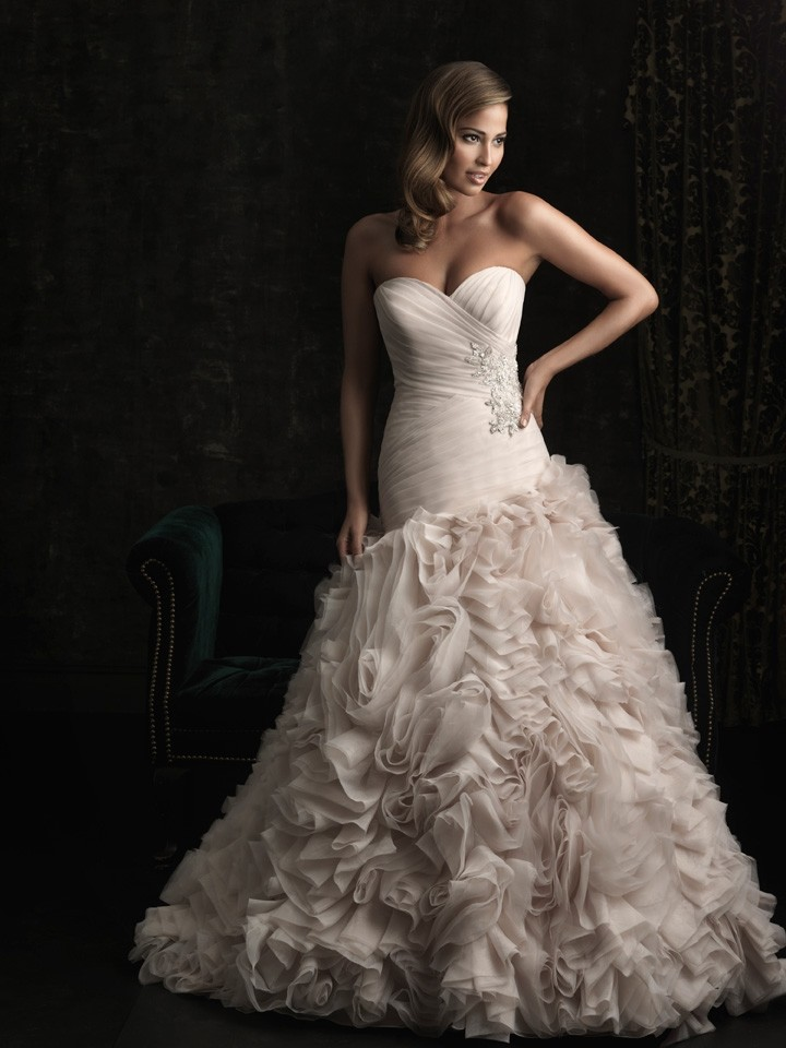 Ball Gown Sweetheart Champagne Organza Ruched Wedding Dress With ...