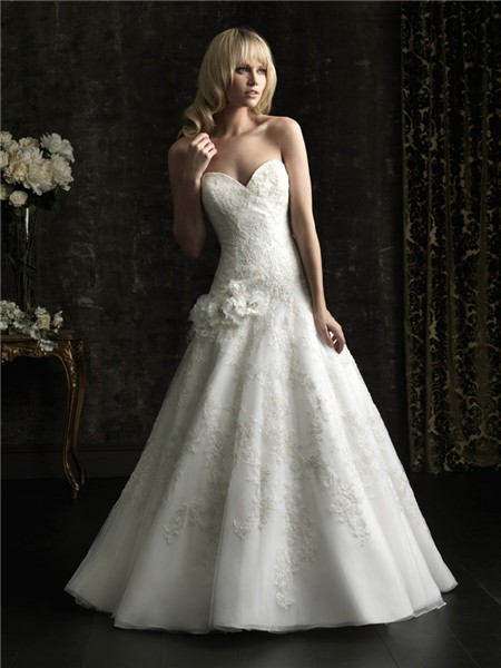 fitted ball gown sweetheart lace applique flowers wedding
