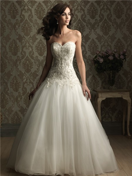 fitted ball gown sweetheart satin tulle wedding dress with