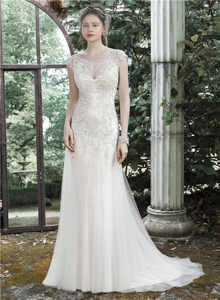 Fitted bateau cap sleeve illusion back champagne colored for Champagne colored wedding dresses with sleeves