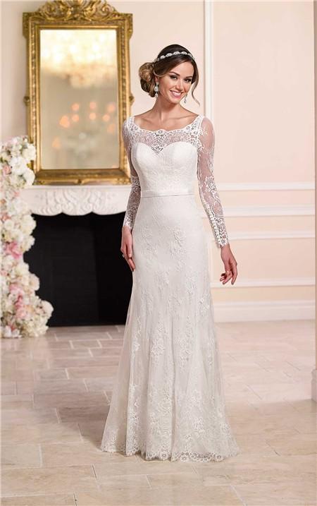 Fitted Boat Neck Backless Ivory Lace Long Sleeve Wedding Dress Ribbon Sash