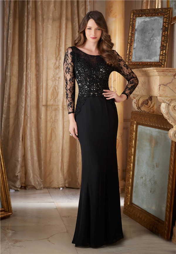 Boat Neck Open Back Black Chiffon Lace Evening Dress With Long Sleeves