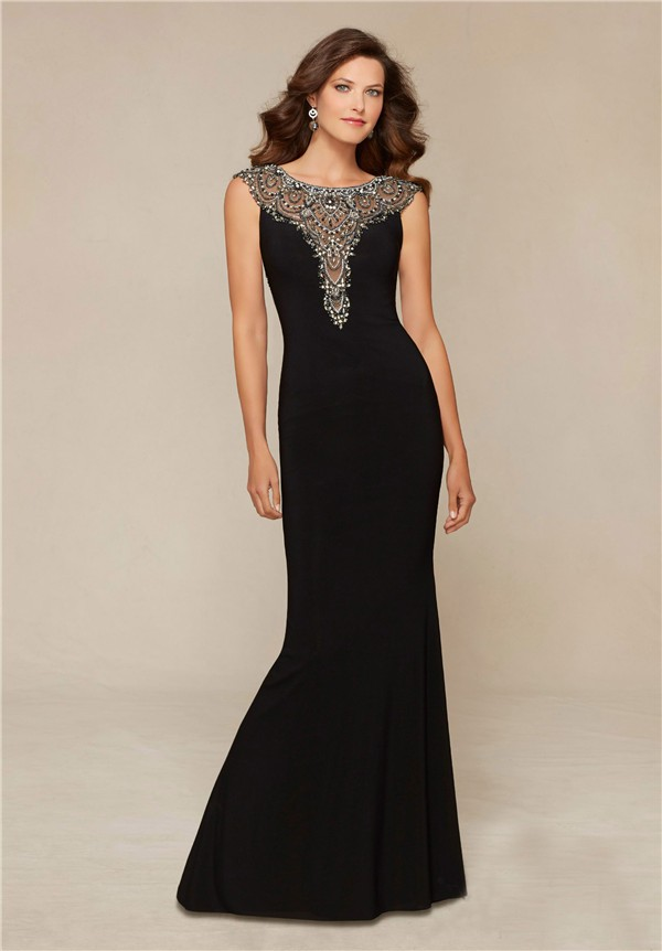 Fitted Boat Neck Sheer Back Black Chiffon Tulle Beaded Evening Prom Dress
