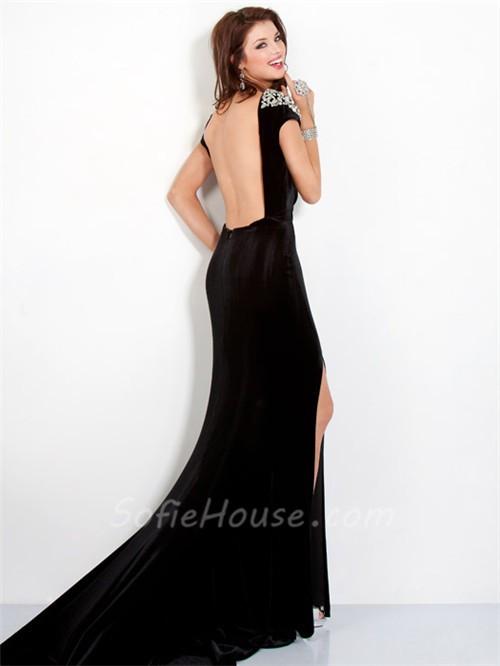 Fitted Cap Sleeve Backless Long Black Velvet Beaded Evening Prom ...