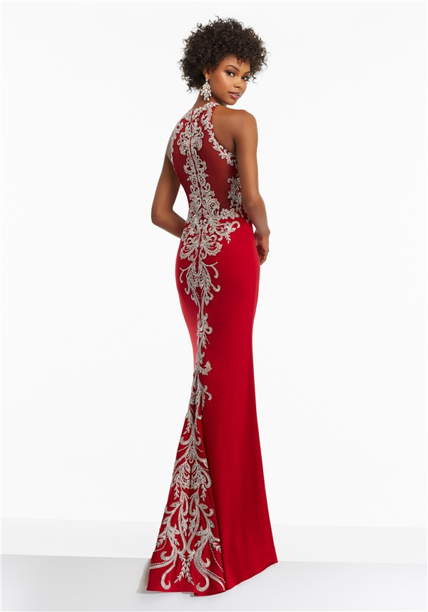 Fitted High Neck Long Red Jersey Embroidery Prom Dress