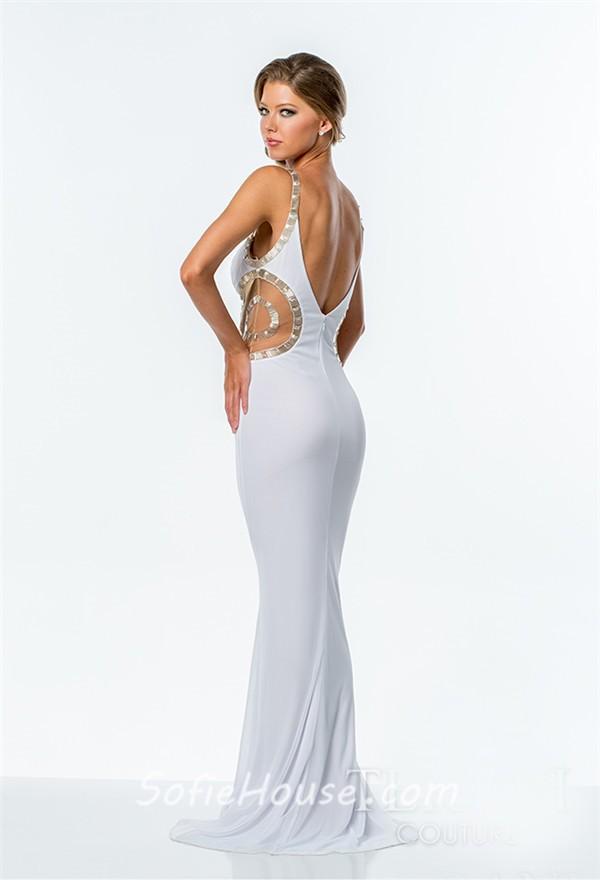 Low Cut Back Long Prom Dresses
