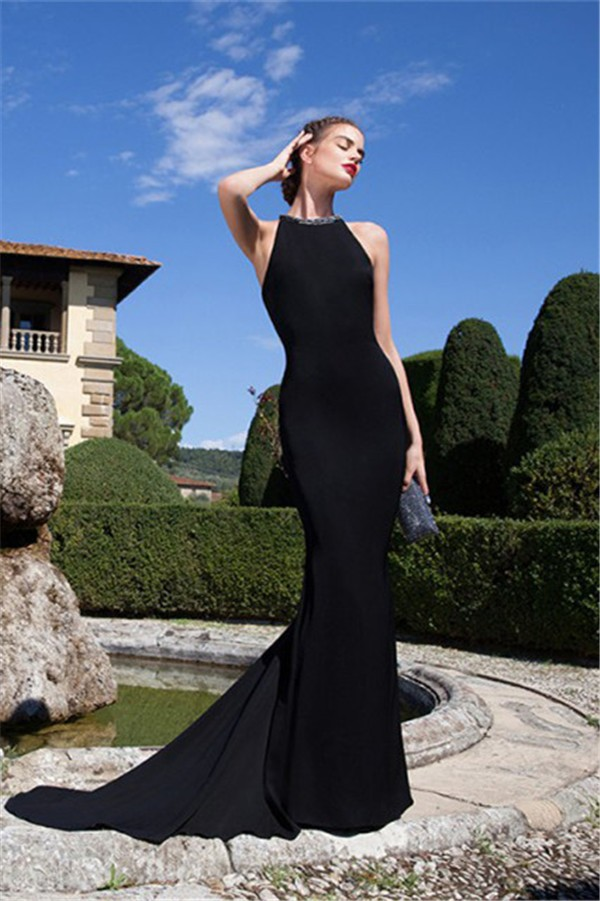 Fitted Long Black Satin Evening Prom Dress Jewelry Back