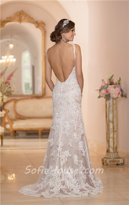 Fitted Mermaid Backless Champagne Satin Ivory Lace Wedding