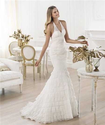 Mermaid Halter Low Back Tiered Layered Lace Wedding Dress