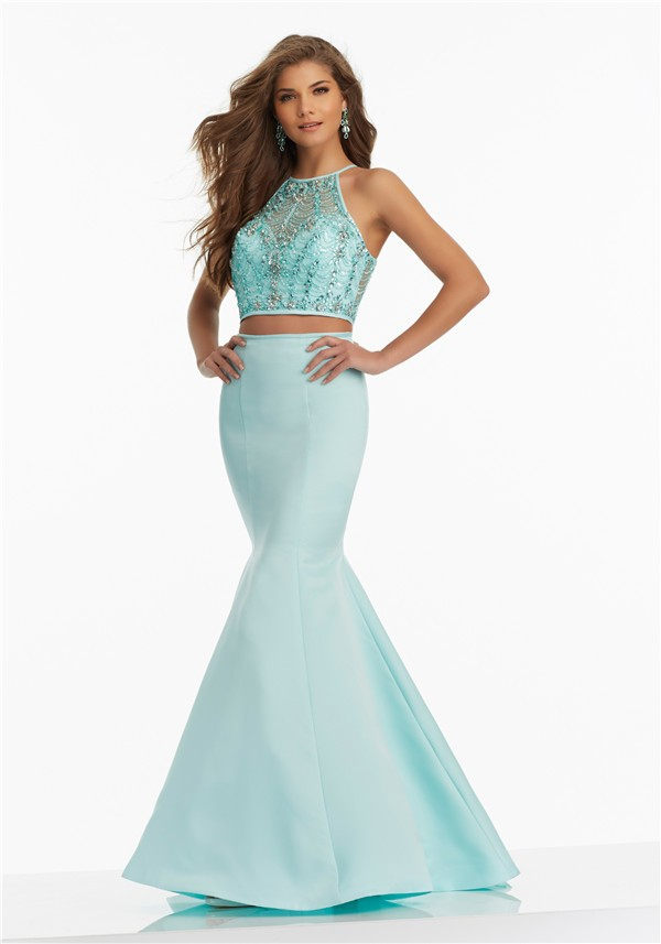 fitted mermaid halter two piece aqua satin tulle beaded