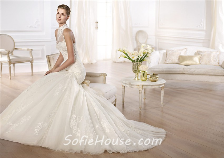 Fitted Mermaid High Neck See Through Beaded Lace Wedding