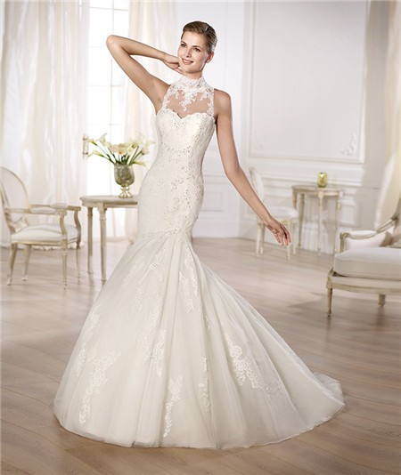 Mermaid High Neck See Through Beaded Lace Wedding Dress With Buttons