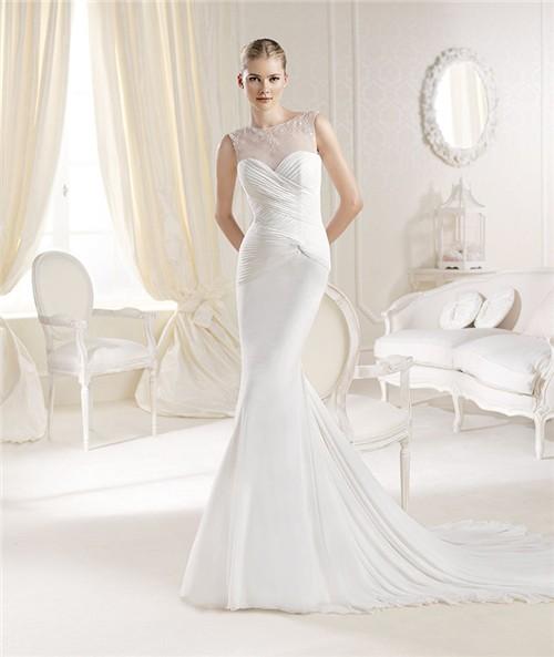 Mermaid illusion neckline chiffon ruched wedding dress fitted mermaid illusion neckline chiffon ruched wedding dress junglespirit Choice Image