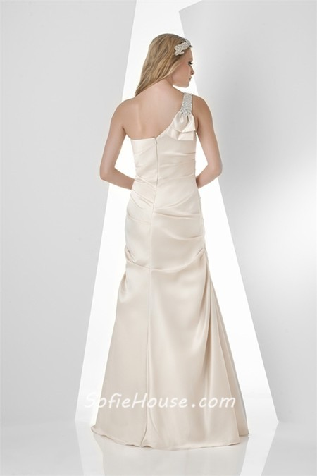 Fitted Mermaid One Shoulder Strap Long Ivory Taffeta