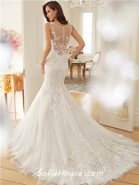 Fitted mermaid sheer illusion neckline see through back for Beaded lace mermaid wedding dress