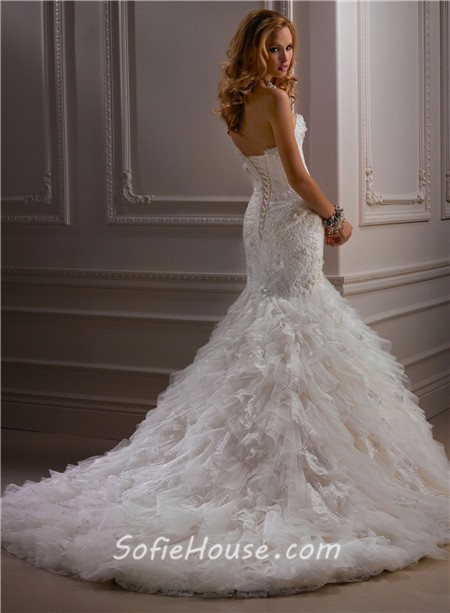 Fitted Mermaid Strapless Beaded Lace Tulle Wedding Dress