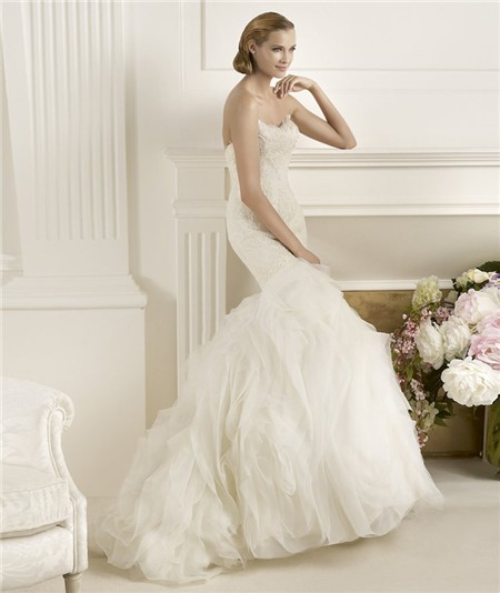 Lace and Feather Wedding Dress