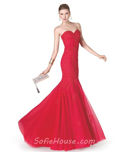 Long strapless lace dress red