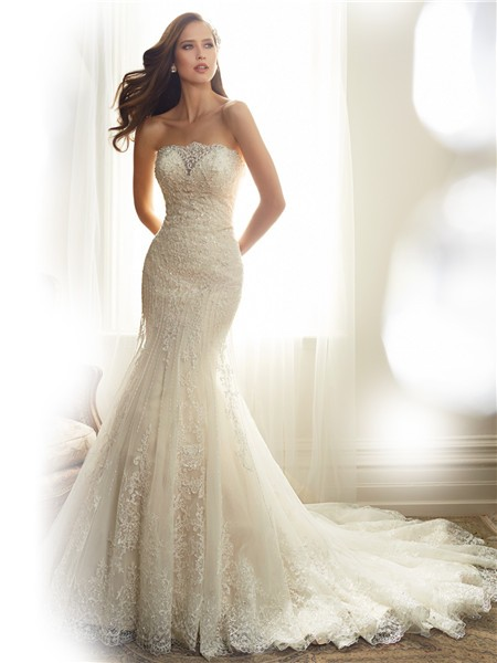 Fitted Mermaid Strapless Tulle Lace Applique Beaded