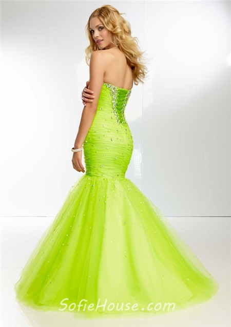 Fitted Mermaid Sweetheart Long Bright Orange Tulle Beaded Prom ...