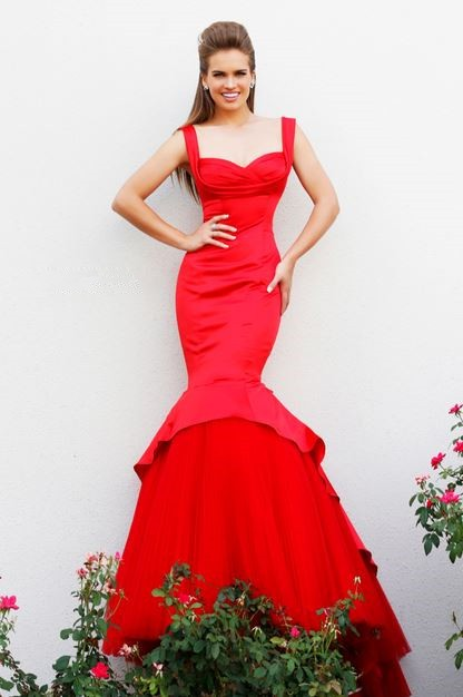 Fitted Mermaid Sweetheart Long Red Satin Tulle Couture