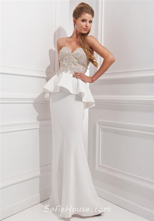 Fitted mermaid sweetheart long white chiffon lace beaded for White peplum wedding dress