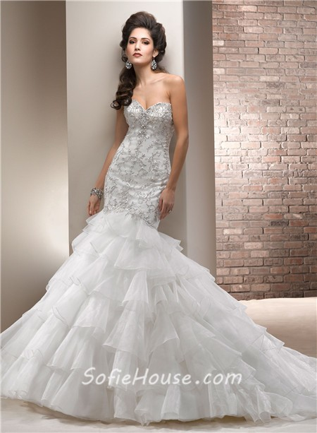 Fitted mermaid sweetheart satin embroidery tiered organza for Tiered ruffle wedding dress