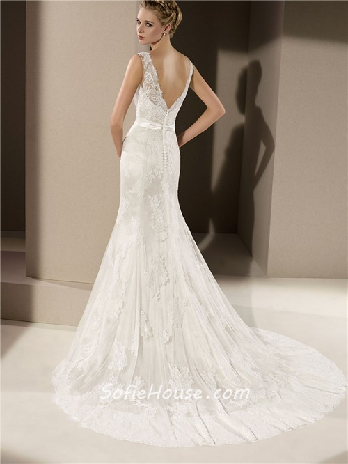 Fitted mermaid v neck low back ivory lace wedding dress for Lace low back wedding dress