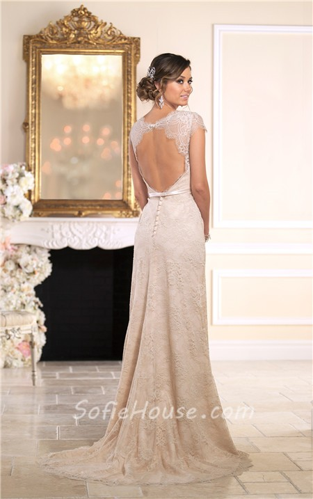 Fitted Scalloped Neck Cap Sleeve Open Back Champagne Lace Wedding ...