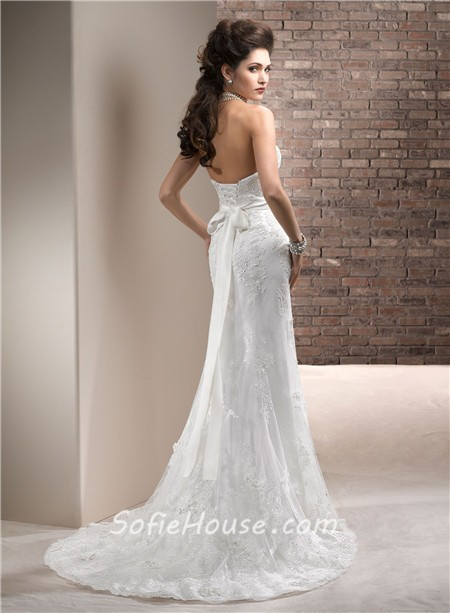 Fitted Sheath Strapless Lace Wedding Dress With Swarovski Crystals ...