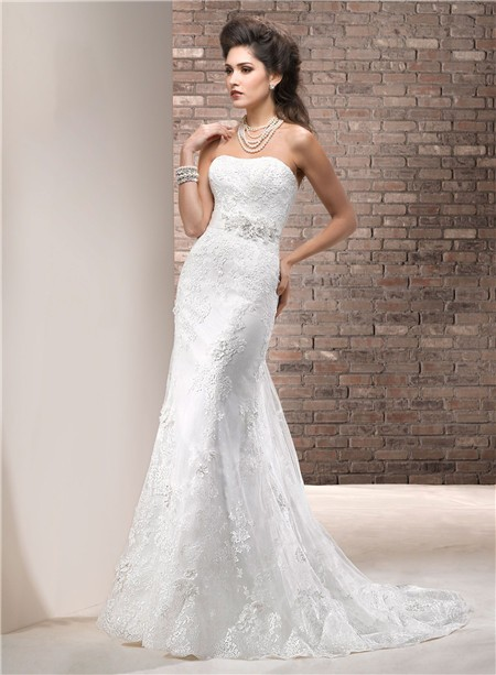 fitted sheath strapless lace wedding dress with swarovski