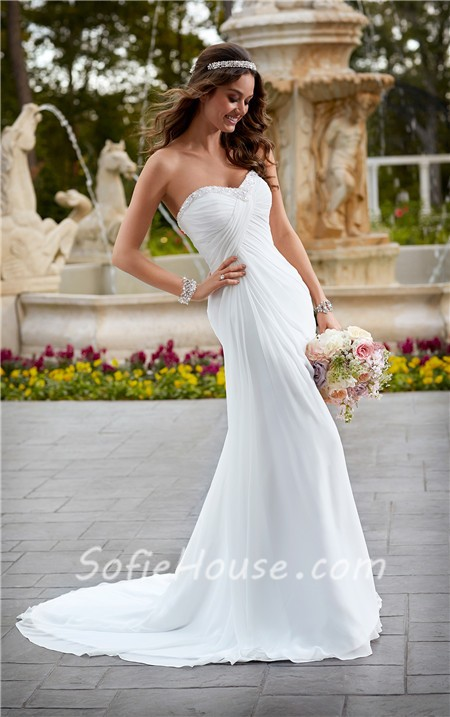 Fitted Strapless Chiffon Ruched Corset Destination Wedding Dress With Crystals Sale