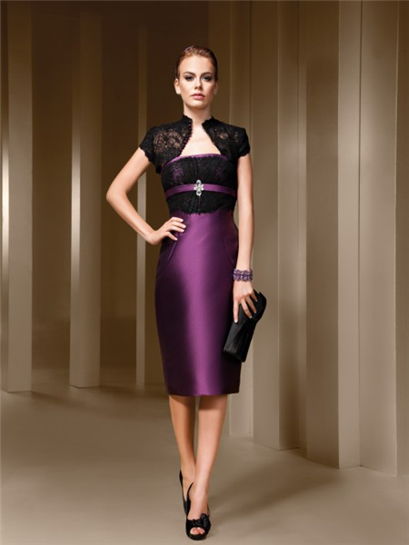 Strapless Purple Satin Black Lace Short Evening Wear Dress Bolero ...