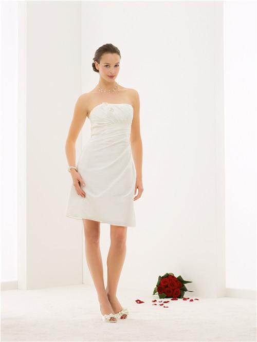 Fitted strapless taffeta draped short wedding dress with for Short fitted wedding dresses