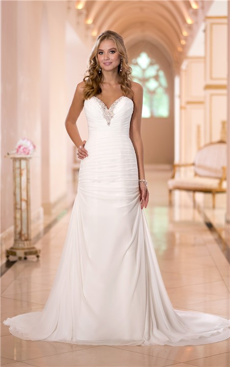 Fitted sweetheart chiffon ruched corset wedding dress for Sweetheart corset wedding dress