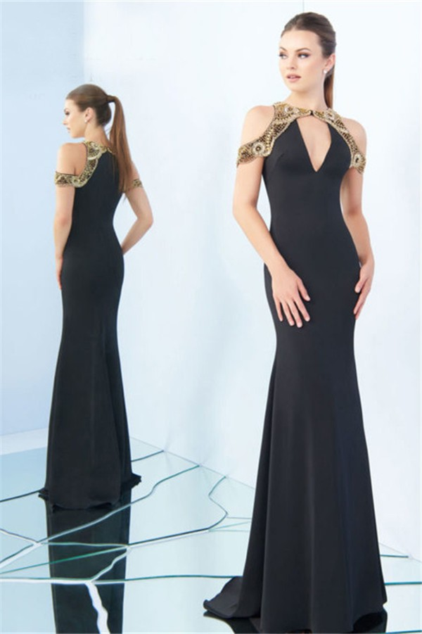 fitted v neck black satin gold beaded formal occasion