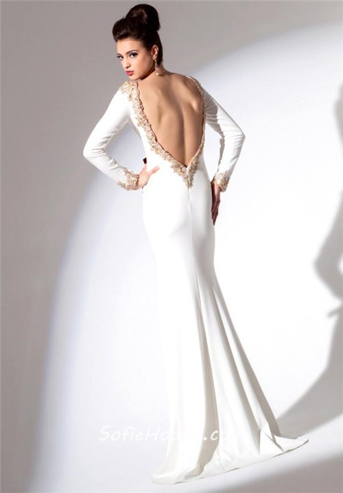 Fitted V Neck Low Back Long Sleeve White Chiffon Gold Beaded ...