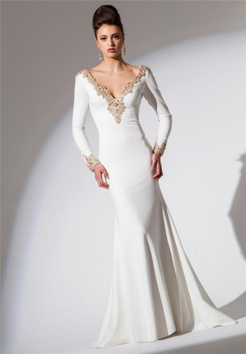 59ad7f4b9c6d Fitted V Neck Low Back Long Sleeve White Chiffon Gold Beaded Evening Prom  Dress