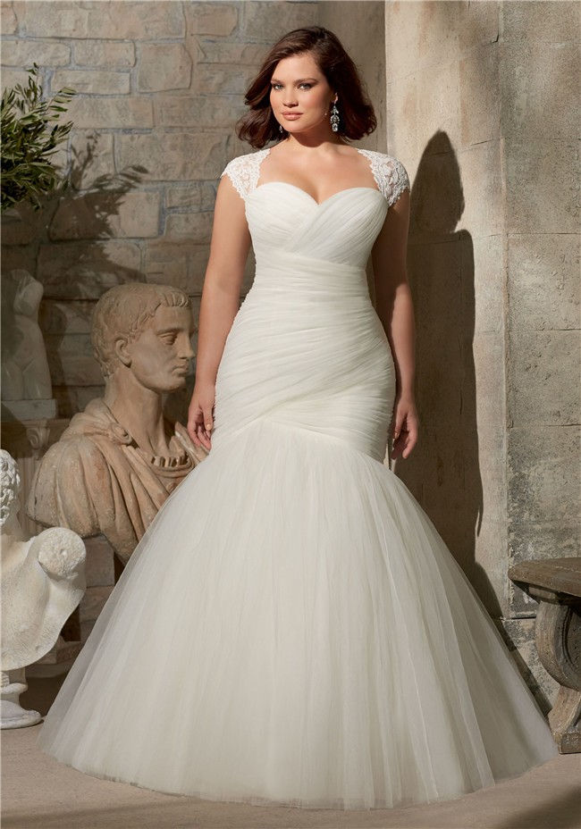Flare mermaid ruched tulle corset plus size wedding dress for Wedding dress detachable sleeves