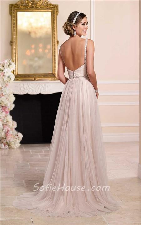 Blush Low Back Wedding Dress : Flowing a line deep v neck low back blush pink tulle