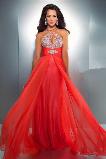 a line spaghetti strap cut out long neon coral chiffon beaded prom