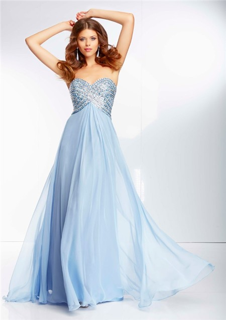 Flowing A Line Sweetheart Empire Waist Light Blue Chiffon Beaded ...