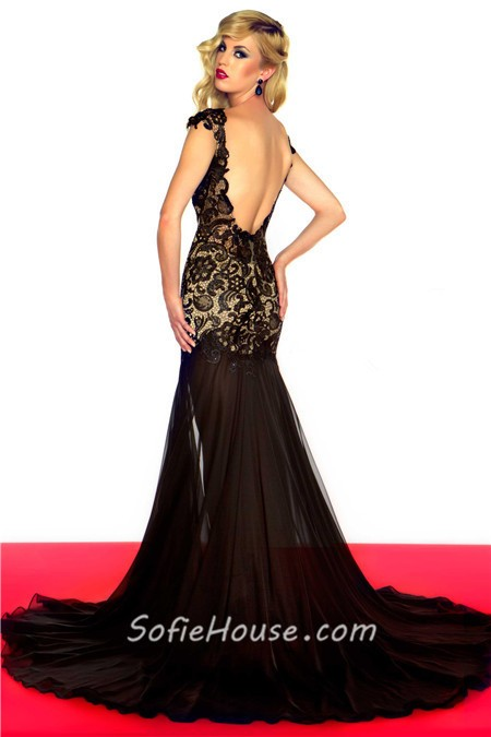 Lace cap sleeve prom dresses illusion black&white