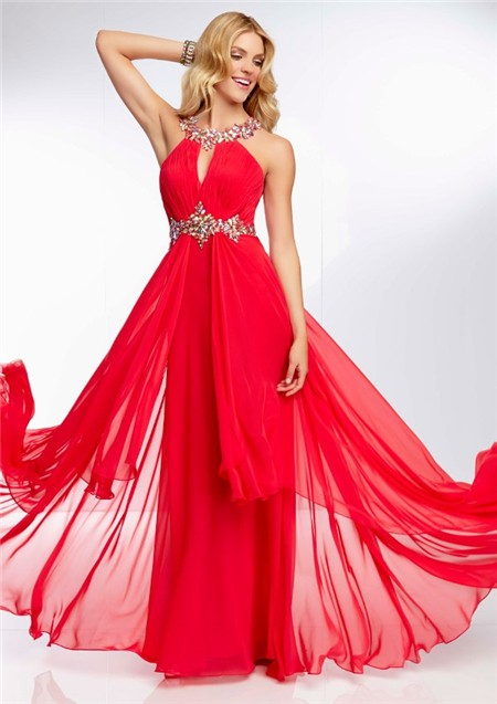 Sexy Split Front Low Back Long Red Chiffon Beading Prom Dress With ...