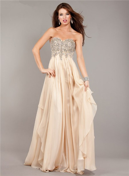 Flowing Strapless Empire Waist Long Champagne Chiffon