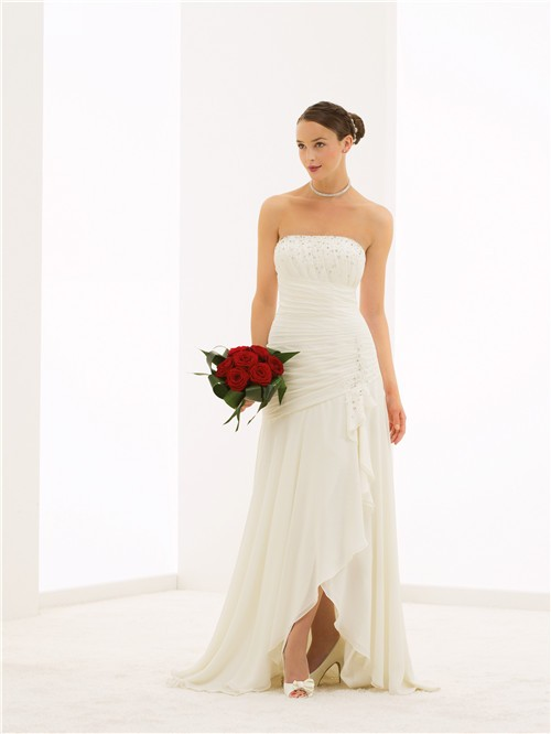 Flowing strapless high low chiffon beaded destination for Flowing beach wedding dresses