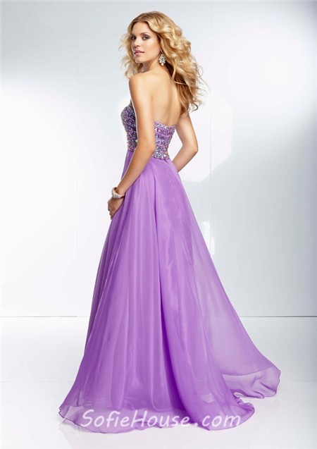 flowing strapless long lavender purple chiffon beaded crystal prom