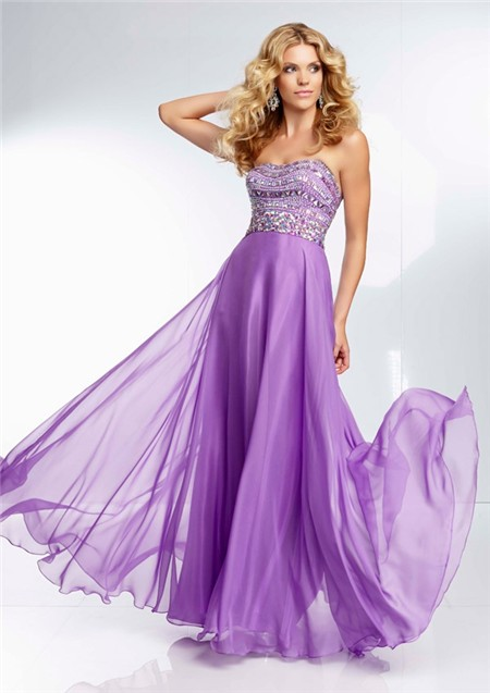 strapless long lavender purple chiffon beaded crystal prom dress