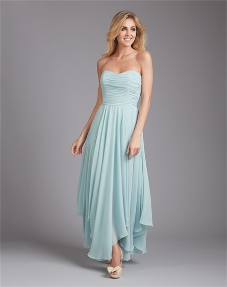 Flowing Sweetheart Long Light Blue Chiffon Ruched Wedding Guest ...