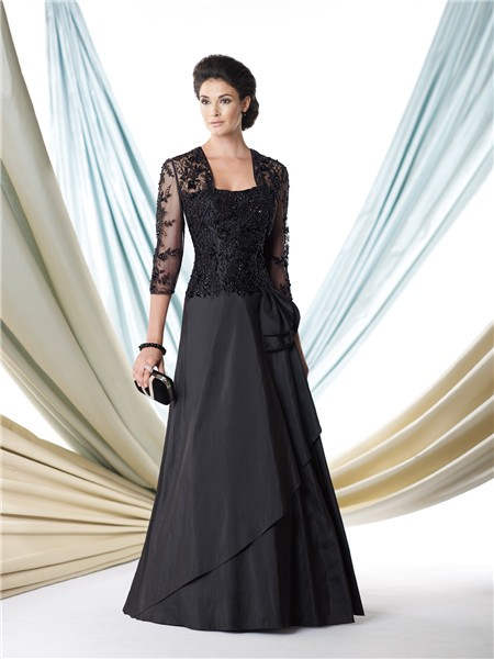A Line Black Taffeta Lace Beaded Bolero Jacket Mother Of The Bride ...